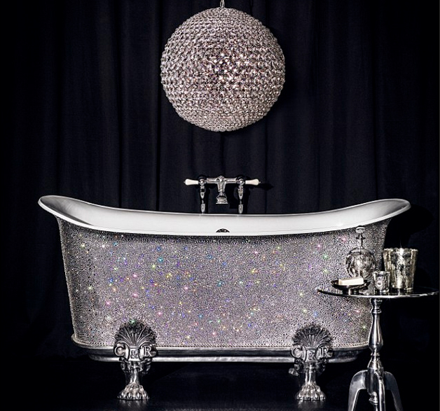 Bling bathroom 22 000 swarovski crystal bathtub goes on for Bathroom accessories with bling