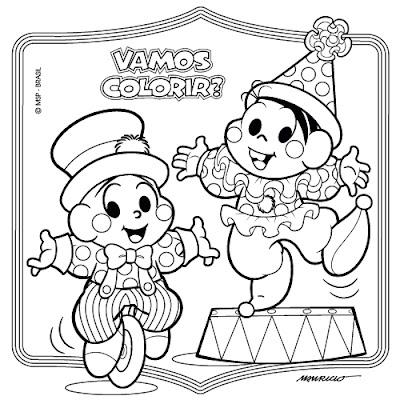 Desenho de Dia do Circo para colorir - Turma da Mônica