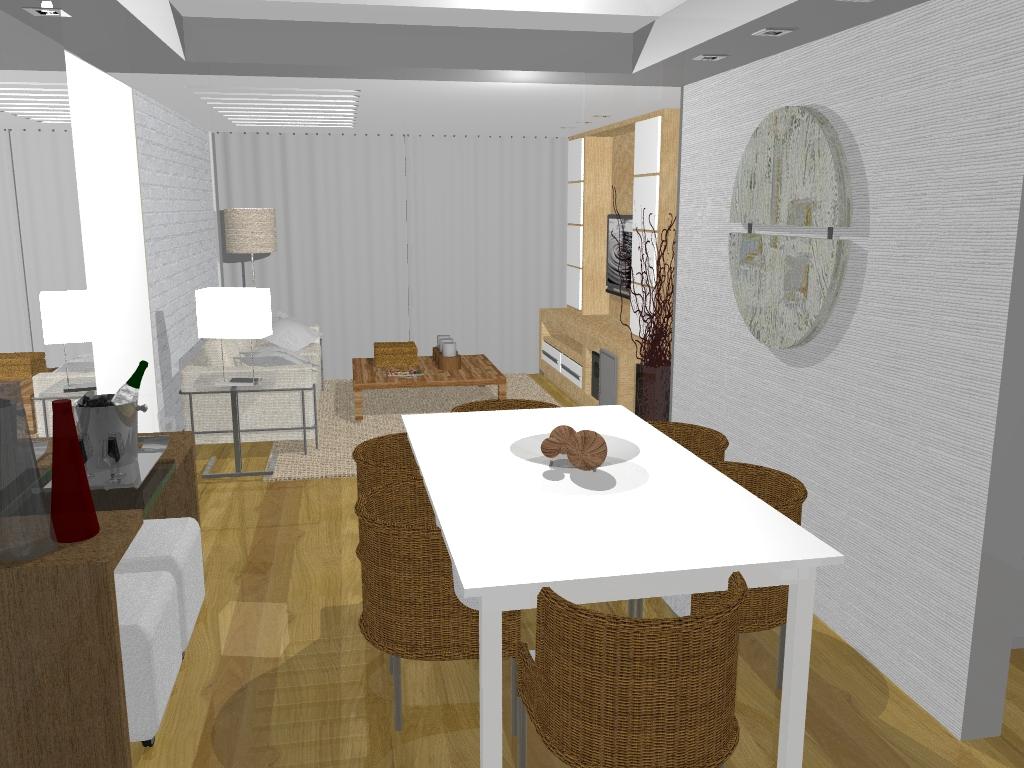 Sala de janta. Mesa de resina branca. Papel de parede aparador com  #5C4425 1024 768