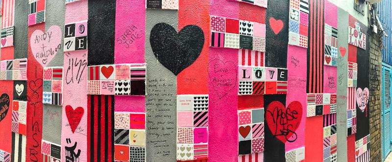 The wall art of love in temple bar Dublin Ireland