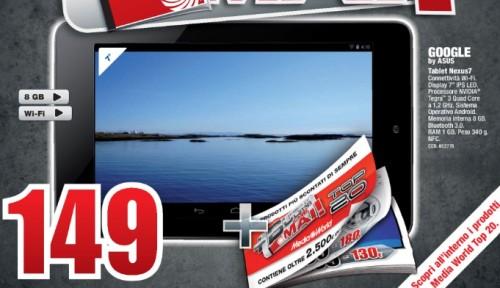 Prezzo buono di 149 per il tablet tegra 3 nexus 7 proposto nell'ultimo volantino di Giugno Mediaworld