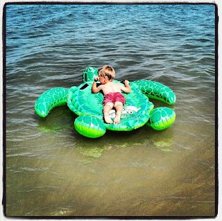 Little A on turtle