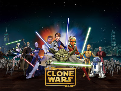 The animated cast of Star Wars the Clone Wars in a lineup.