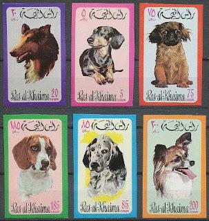 1971年ラスアルカイマ コリー ダックス・フンド ペキニーズ ビーグル イングリッシュ・セター パピヨンの切手