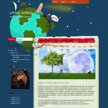 Little World Blogger Template. template blog for green blog