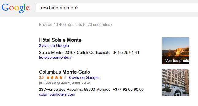google est bien membré pour les lieux tbm=plcs