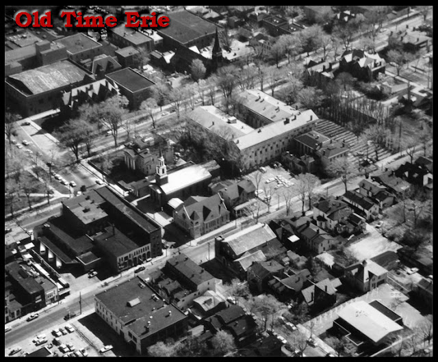 Aerial photograph of the Erie County Courthouse and surrounding area of West 6th and Peach Street in Erie, PA.