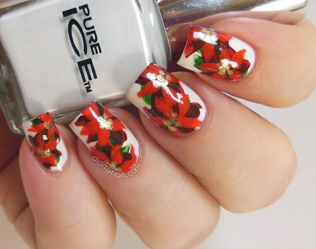 Christmas poinsettia nail art