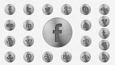 iconos de redes sociales con diseño metal