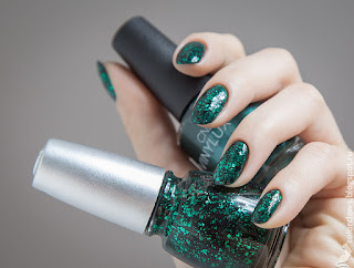 CND Vinylux Serene Green + China Glaze Graffiti Glitter