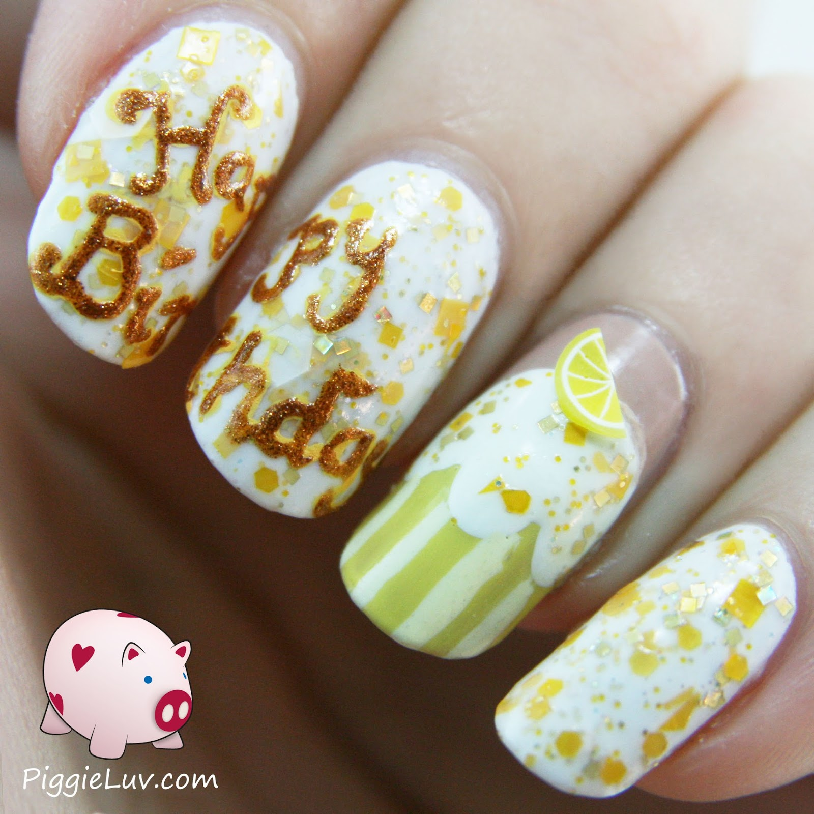 Piggieluv 300th Blog Post Already Birthday Nail Art