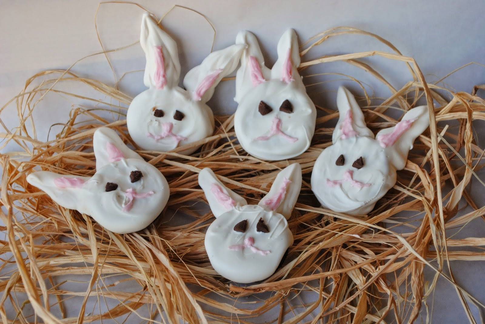 Candy Covered Oreo Bunny Treats on Raffia