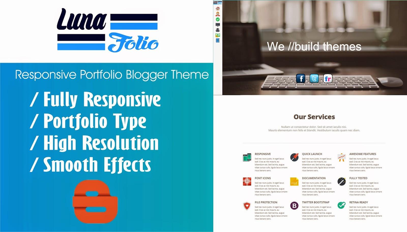 Theme Blogspot Luna Folio cho trang web công ty