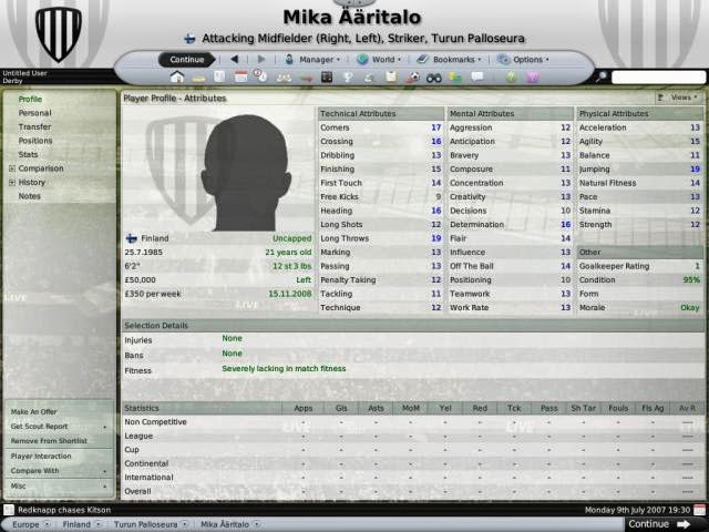 Football Manager, Championship Manager, FM. CM, Best XI, Best Attacking Midfielder, Best Left Winger, Best AML, Mika Aaritalo