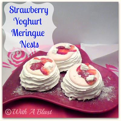 With A Blast: Strawberry Yoghurt Meringue Nests  #dessert  #strawberries