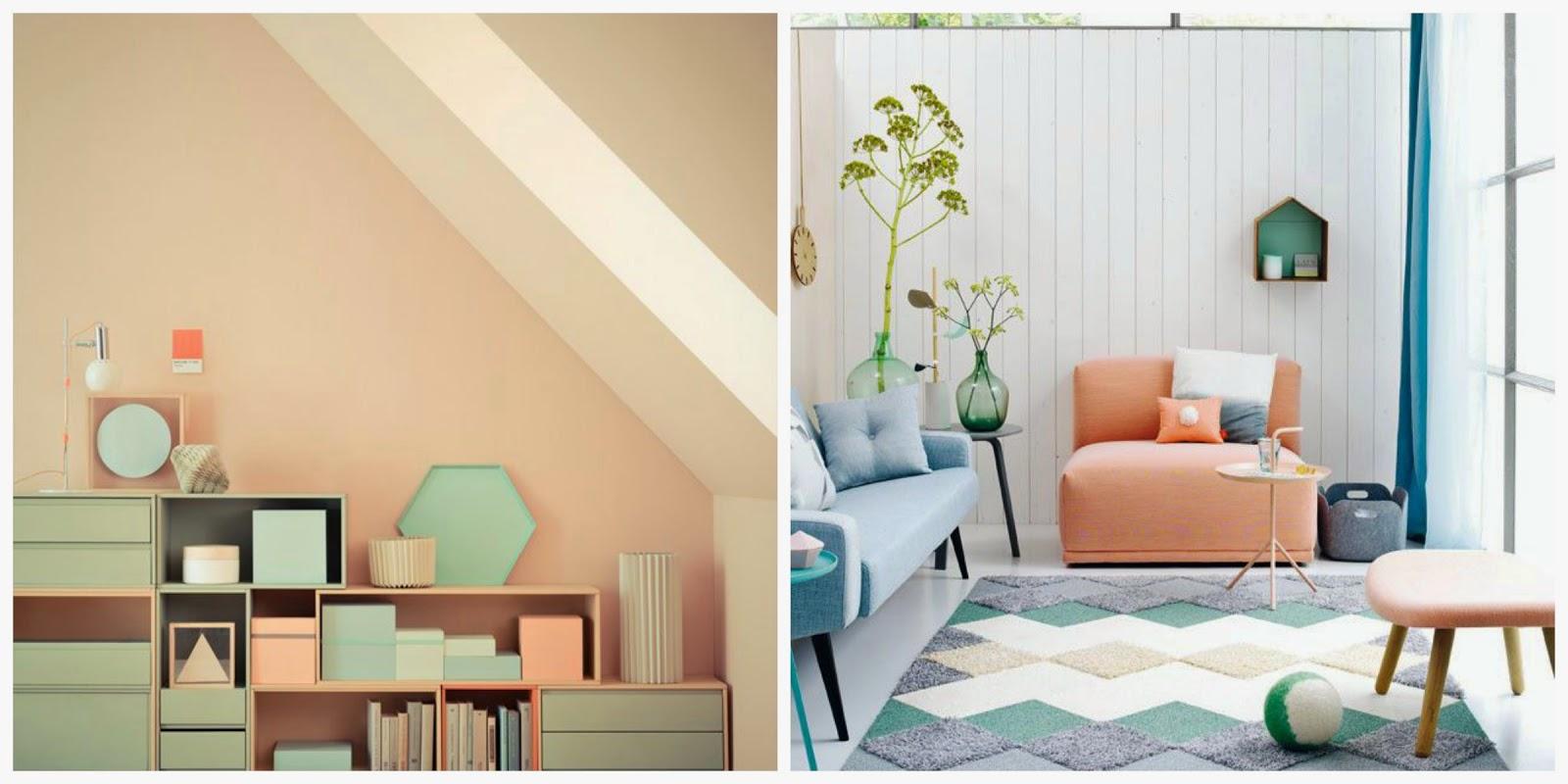 34 ideas para decorar con durazno peach y rosa empolvado - Pared naranja combina con ...