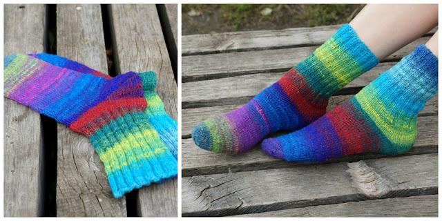 Как связать носки с полосками