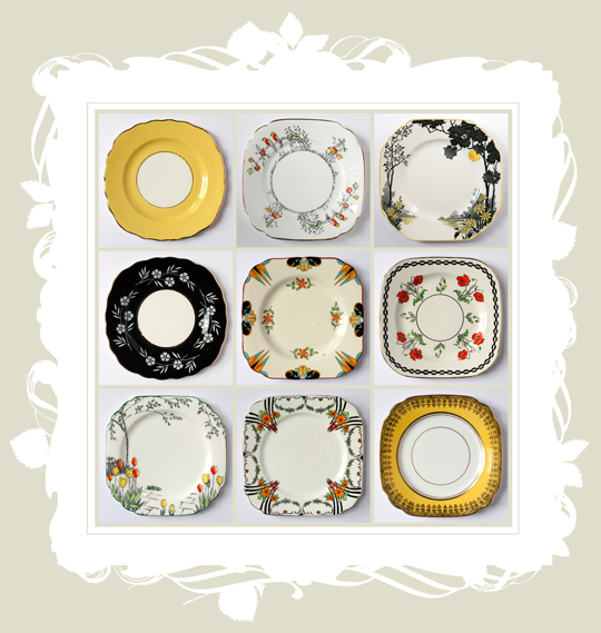 floral and patterned yellow, black and orange art deco side plates