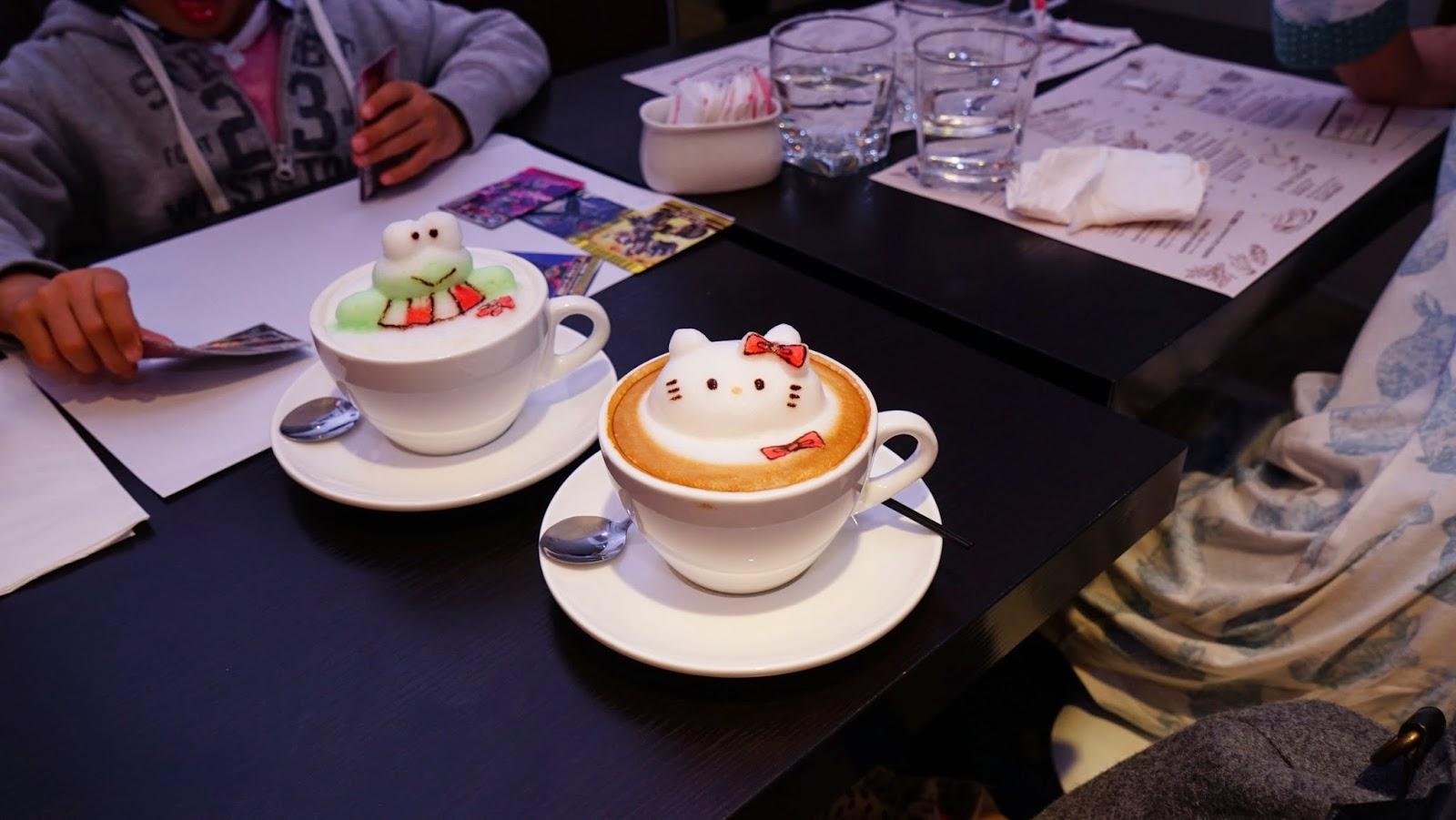 香港 新蒲崗 Mikiki Karena Cafe 3D拉花 咖啡 晚餐 Cappuccino Hello Kitty