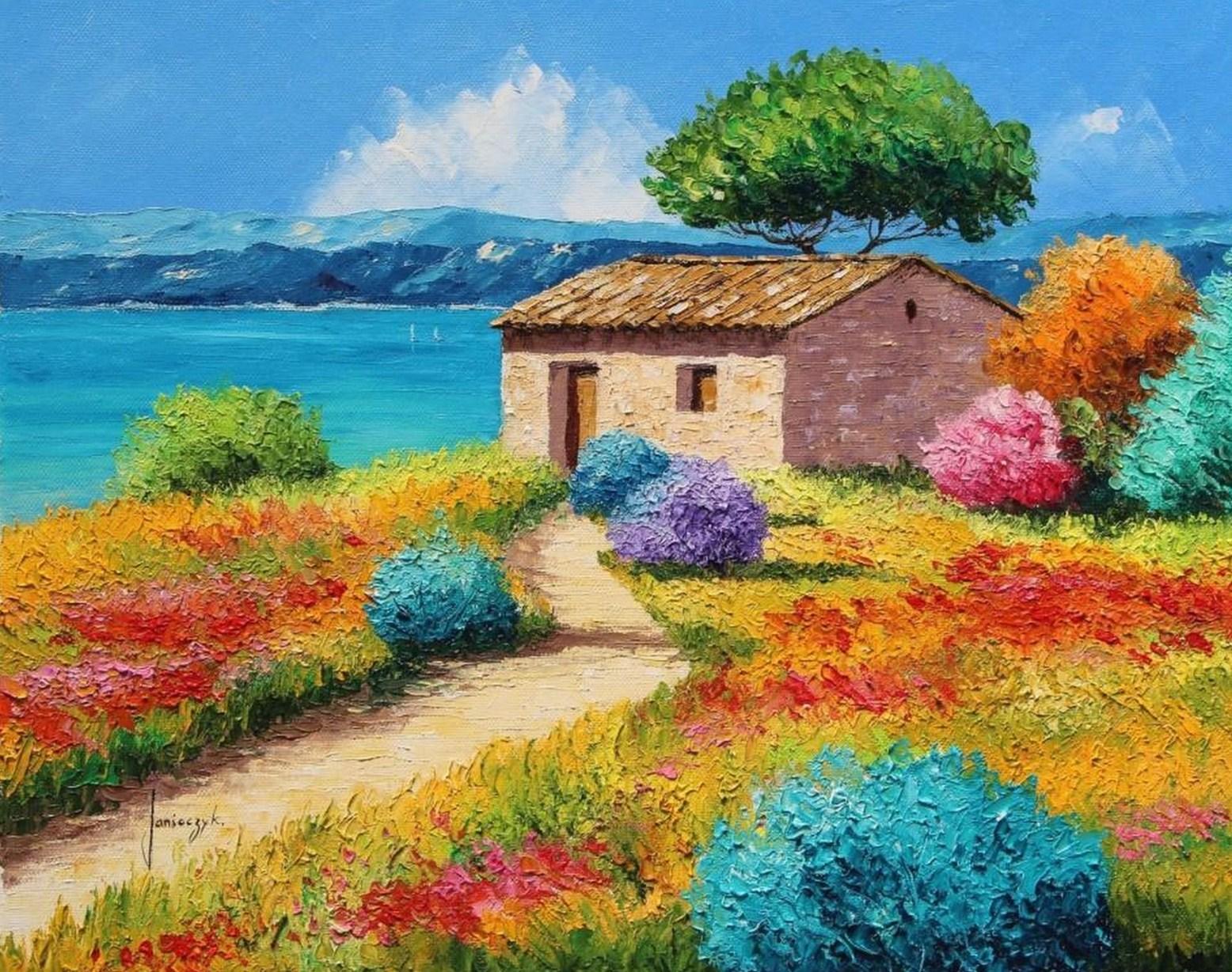 Cuadros pinturas oleos paisajes con flores pintados con - Los cuadros mas bonitos ...