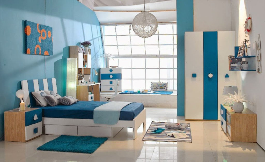 Cheerful Blue Kids Bedroom Design Ideas