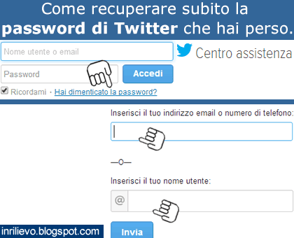 recupero password twitter