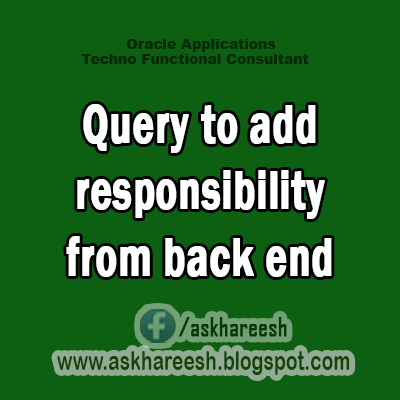 Query to add responsibility from back end