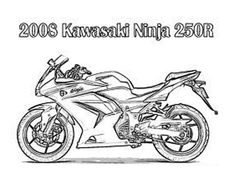 Free Motorcycle Kawasaki Ninja Coloring Pages title=