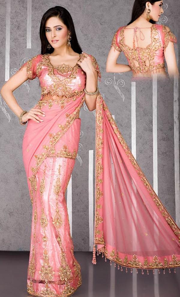 Brides Party Wear Sarees Saree Sleeveless Blouse Partywear