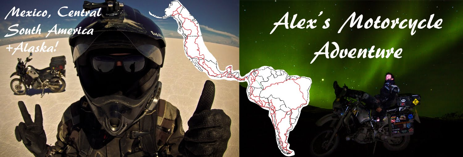 Alex&#39;s Motorcycle Adventure Alaska, Mexico, Central + South America!