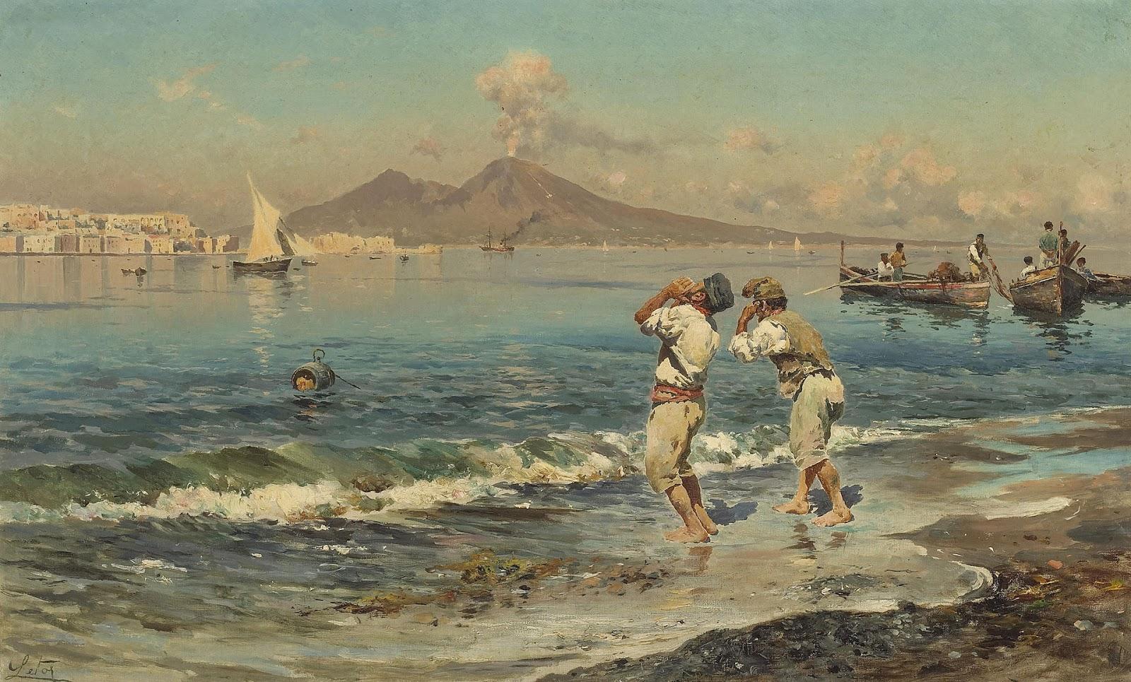 Antonino Leto Una veduta del golfo di Napoli con i pescatori nella priorit C A alta