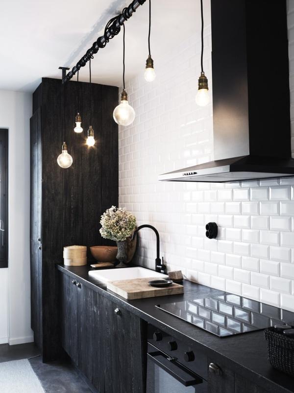 Modernestil: svart kvitt kjøkken: