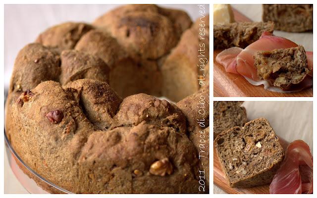 pane nero fichi e noci, salumi, formaggi