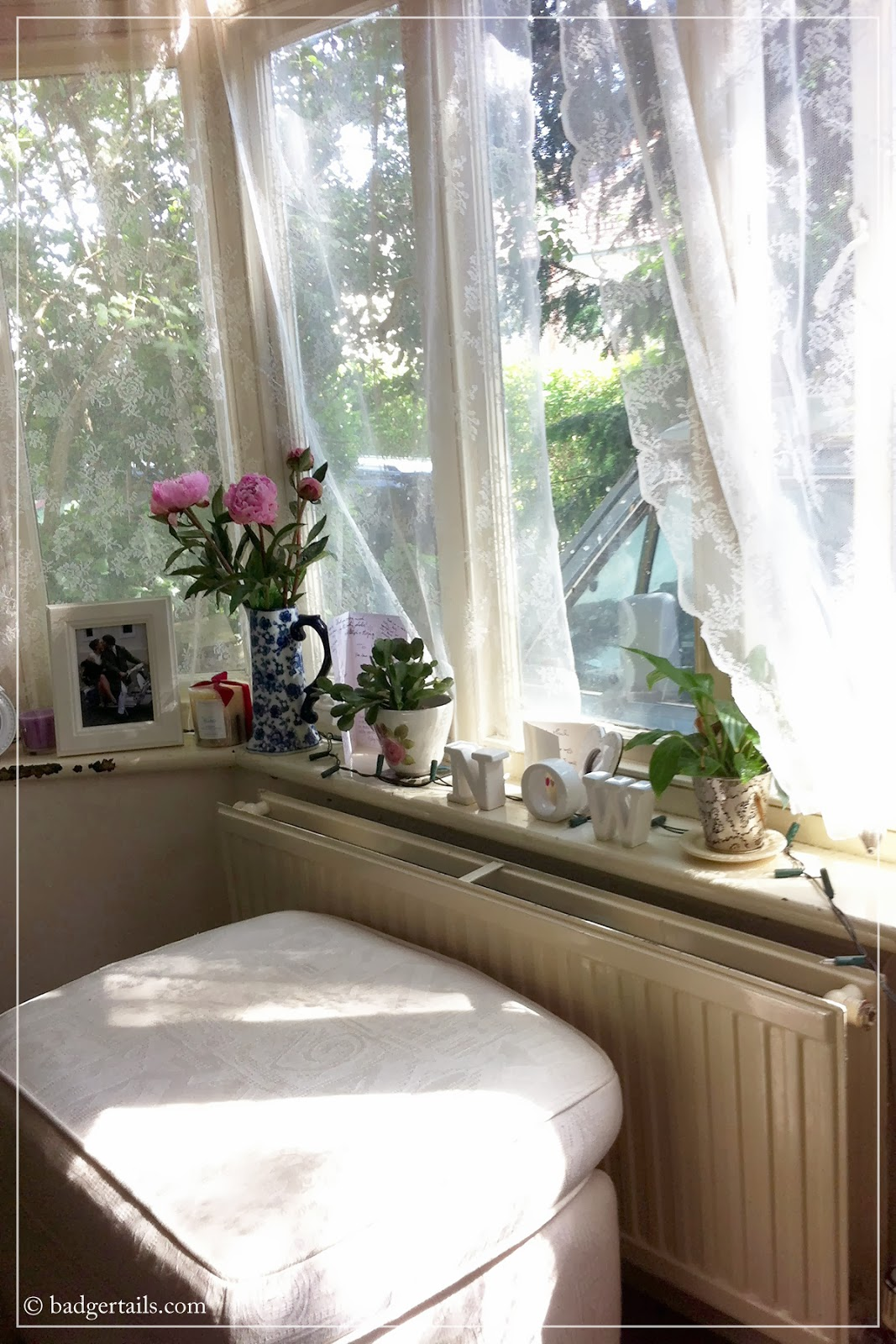 lace curtains blowing in summer breeze window