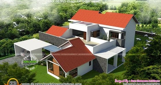 4 bedroom attached luxury house kerala home design and for The space scape architects thrissur kerala