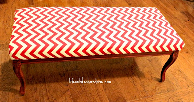 Chevron and Annie Sloan Emperor's Silk Bench Makeover, clear wax, tutorial, diy bench