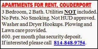 Apartments For Rent--Coudersport