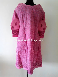 Back -rose pink chikan Anarkali