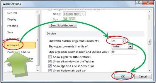 Gambar: Cara mengatur jumlah item recent documents di Microsoft Word 2010