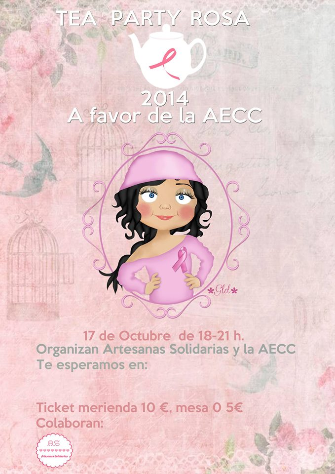 Cartel Tea Party Rosa AECC - Artesanas Solidarias