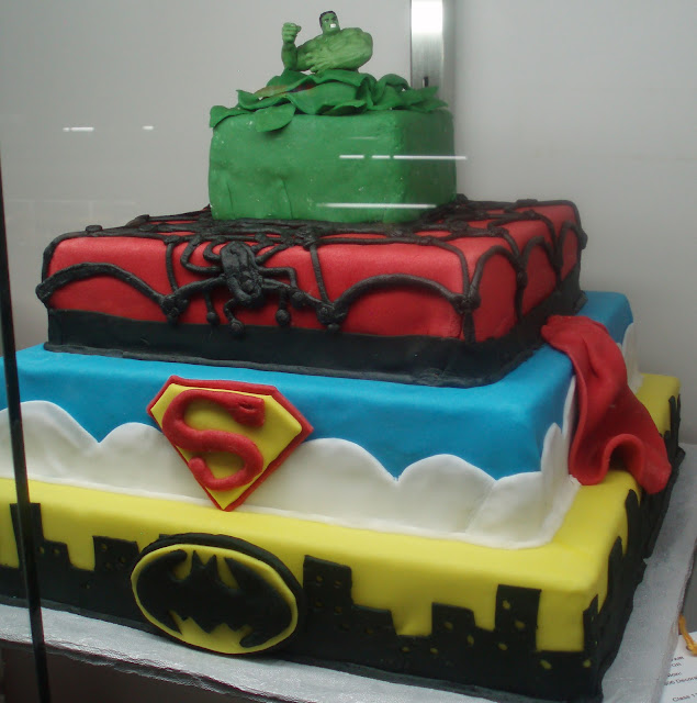 Superhero cake with Superman, Batman, Spiderman, and Hulk