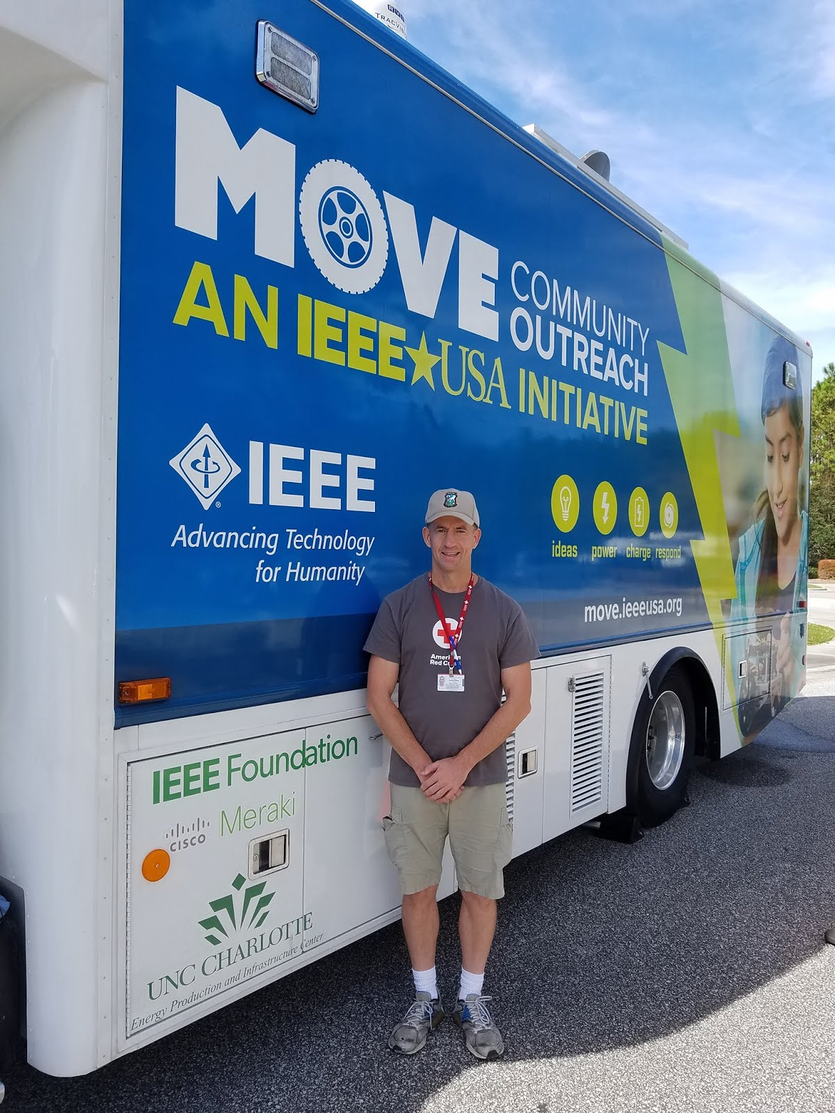Thomas Q Kimball of Ridgefield, Connecticut with the IEEE-USA Community Outreach (MOVE) Truck