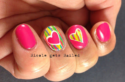 Pink Striped Valentine's Day Nail Art