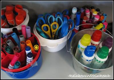 photo of: Art Room Supply Buckets (Art Room RoundUP via RainbowsWithinReach)