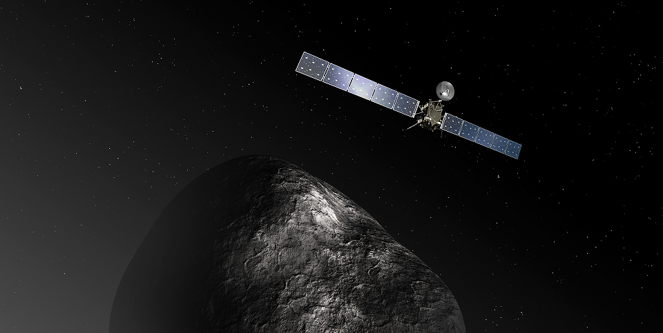 Artist's impression of the Rosetta orbiter at comet 67P/Churyumov–Gerasimenko. The image is not to scale; the Rosetta spacecraft measures 32 m across including the solar arrays, while the comet nucleus is thought to be about 4 km wide. Credit: ESA–C. Carreau/ATG medialab