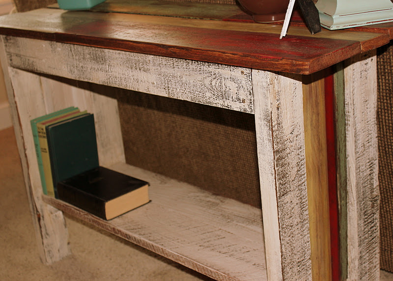 Reclaimed Salvaged Wood Sofa Table  Http://bec4 Beyondthepicketfence.blogspot.com