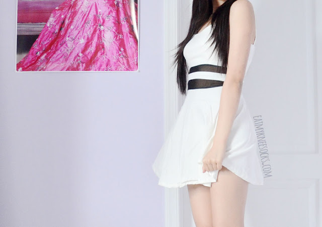 A sexy party outfit featuring Wholesalebuying's white sweetheart mesh-paneled cutout back skater dress and white Jeffrey Campbell Lita spike platform booties dupes.