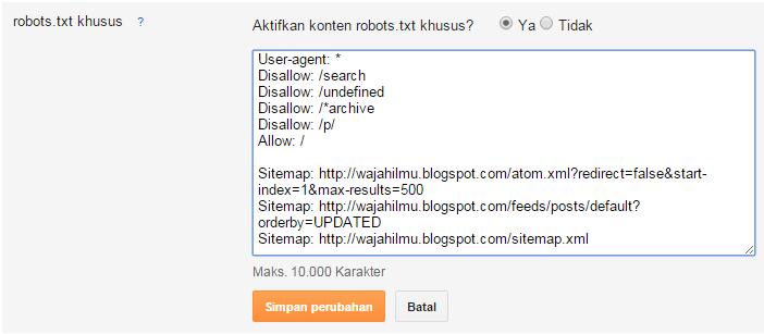 Cara mengaktifkan robots.txt khusus pada blog