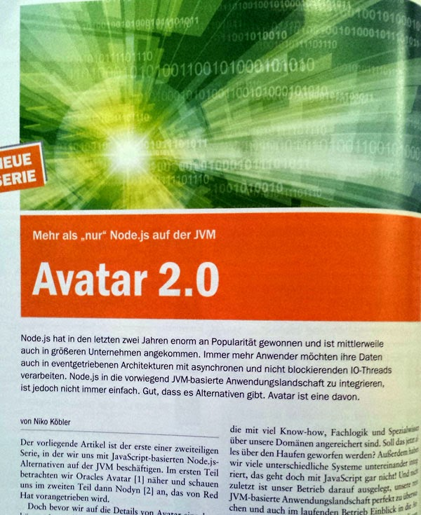 New (german) Article In Java Magazin About Avatar 2.0