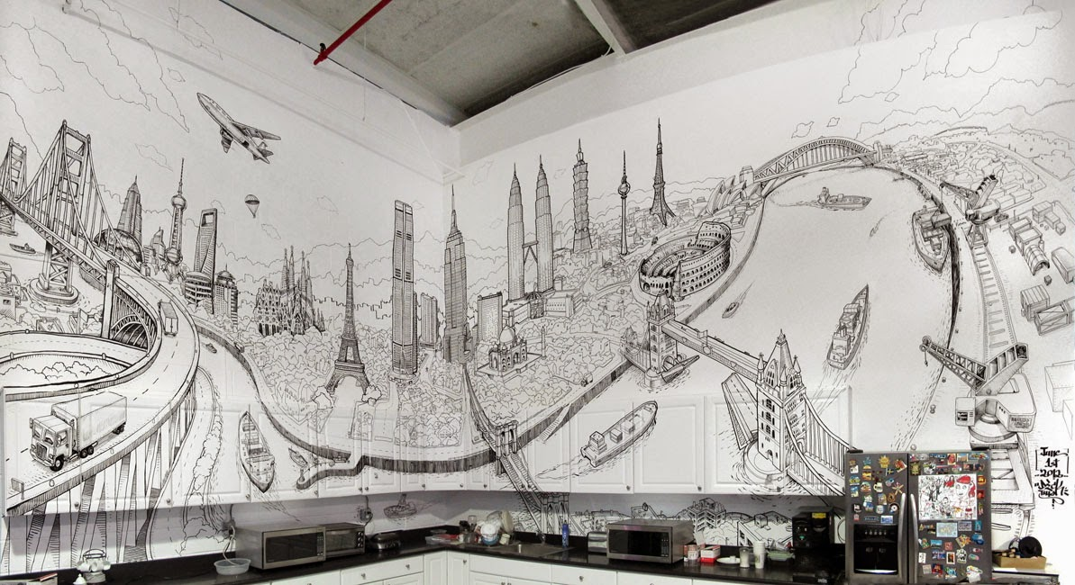 Line Art Mural : Design stack a about art and architecture